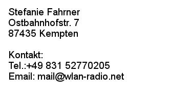 Impressum WLAN Radio